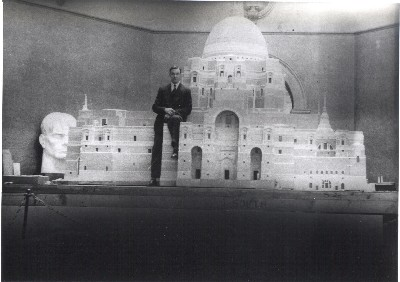John Thorp the younger sitting on the model at the 1934 RA exhibition, CJ Studios