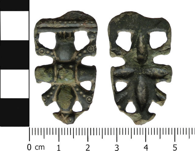 Late Saxon tongue-shaped copper alloy strap