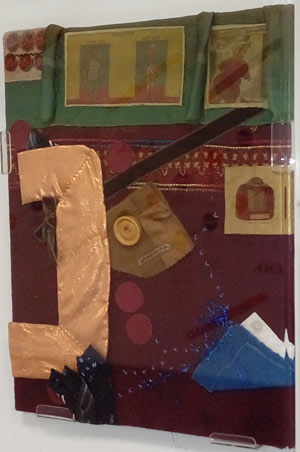 artwork using various fabric to represent the ground floor layout of a pub