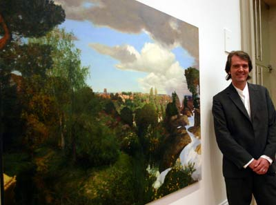 Martin Greenland with his prizewinning painting