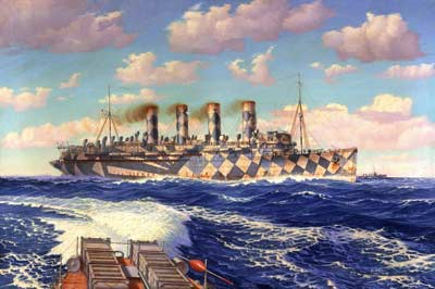 Painting of a ship with blue and cream camouflage pattern