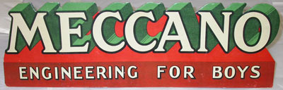 Shop sign reading: 'Meccano, engineering for boys'