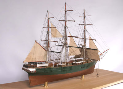 model of a ship with 3 masts
