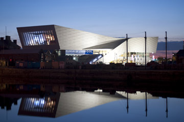 Museum of Liverpool exterior at night