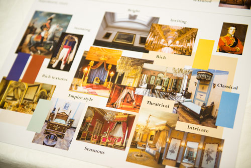 Mood board for the Napoleon room.