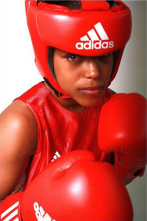 Natasha Jonas wearing her boxing gloves