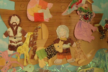 Children's mural of Noah's Ark