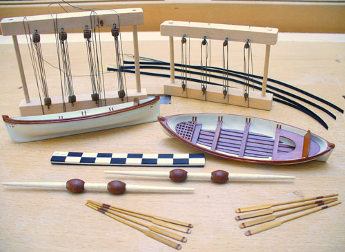 model rowing boats and oars