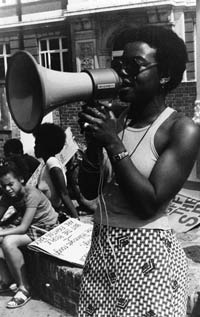 photo of a woman with a megaphone