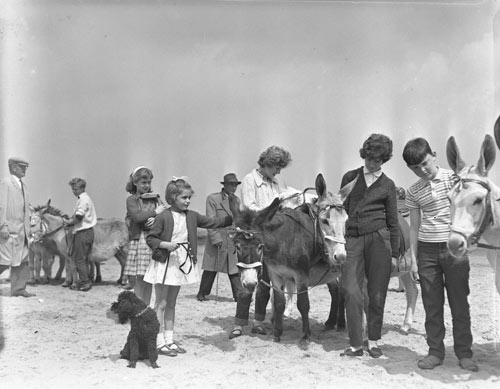 old photograph of families taking donkey rides on New Brighton beach