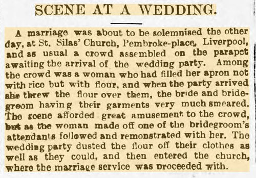 'Scene at wedding' newspaper article