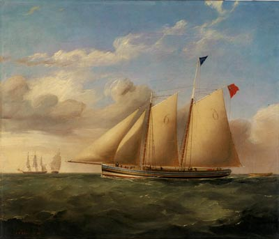 oil painting of a masted ship on a green sea against a blue sky