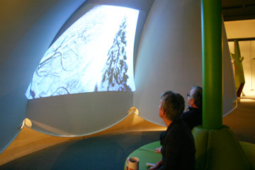 Annie watching a winter scene from the Plantastic! film