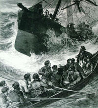 black and white drawing of a life boat being rowed towards a ship in a storm