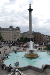 Nelson's Column and fountains in Trafalgar Square