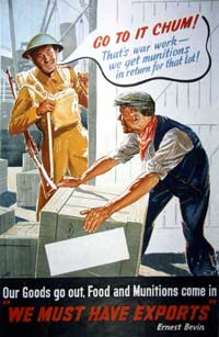 Poster showing a soldier talking to a man carrying a box