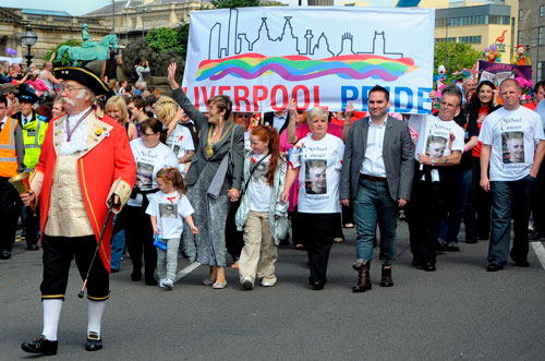 Mayor leading crowds at the Liverpool Pride march
