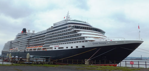Queen Victoria cruise liner moored in Liverpool