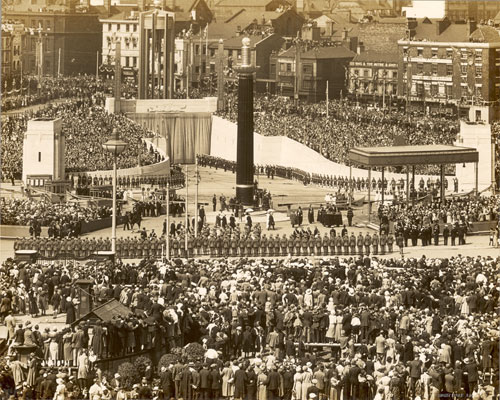 archive photo of crowds at the opening of the Queensway Mersey tunnel