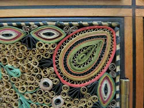 Close-up detail of quilling