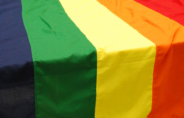 detail of a rainbow flag