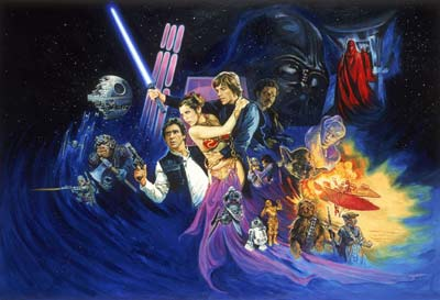 Josh Kirby's original artwork for Return of the Jedi film poster