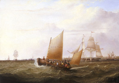 painting of people in a small sailing ship at sea