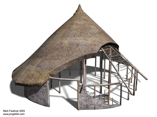 The evidence of the buildings is being analysed, and they seem to have been constructed in clay and timber and may have been round-houses similar to this