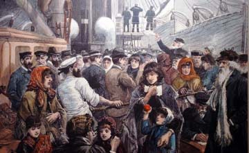 Illustration of people getting on a ship
