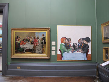 (From L to R) 'Isabella' by Millais and 'The Dinner Party' by Walsh.