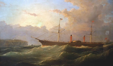 painting of a paddle steamer in rough sea