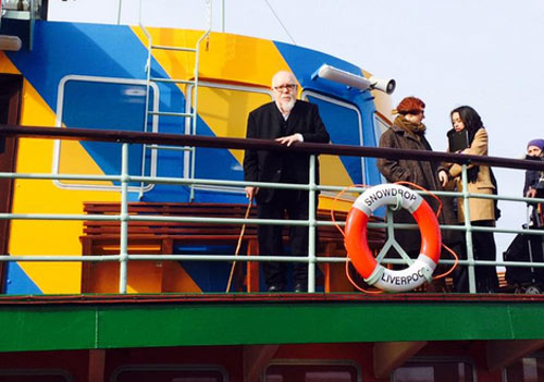 artist Sir Peter Blake on the colourfully decorated ferry
