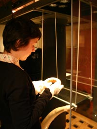 curator taking object out of case