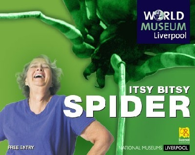 An ecard featuring a mature lady and a giant spider