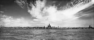 black and white photo of Liverpool waterfvront