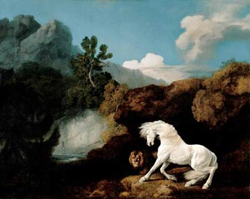 Painting of a horse and a lion