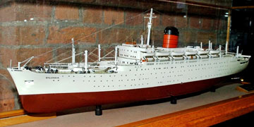 ship model in a display case