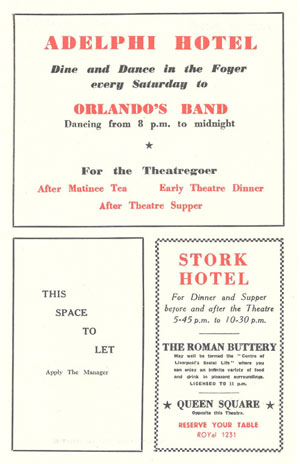 adverts for dining and dancing at the Adelphi and Stork hotels