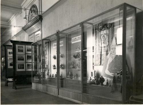 Cases from Elaine Tankard's Tibet exhibition, which opened at the Walker Art Gallery in March 1953.