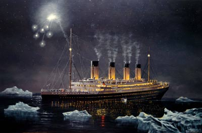 painting of a large ship sinking at night