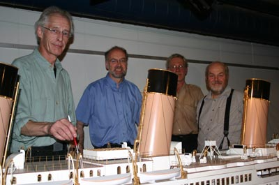 Staff with the Titanic model