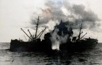 archive photo of a ship exploding