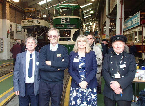 group photo in front of the tram at Wirral Transport Museum
