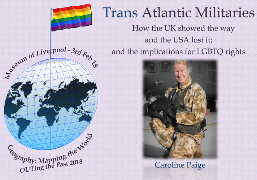 image of globe with rainbow flag and text: Trans Atlantic Militaries. How the UK showed the way and the US lost it; and the implications for LGBTQ rights