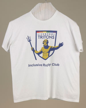 Tritons Rugby Club tshirt with a picture of Neptune holding a trident