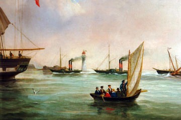 painting of several sailing and steam boats with a  lighthouse in the background