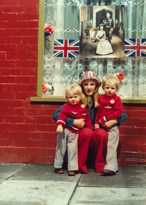 Mother and sons with Jubilee decorations