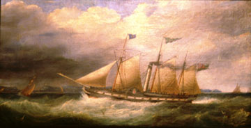 painting of a ship at sea