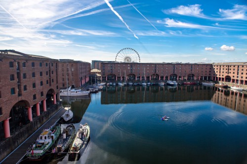 View of the historic Albert Dock from the Maritime Dining Room