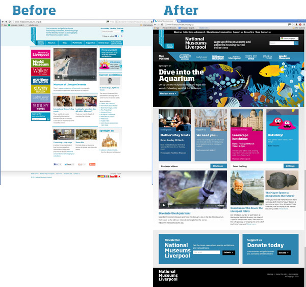 Screenshot showing the website before and after